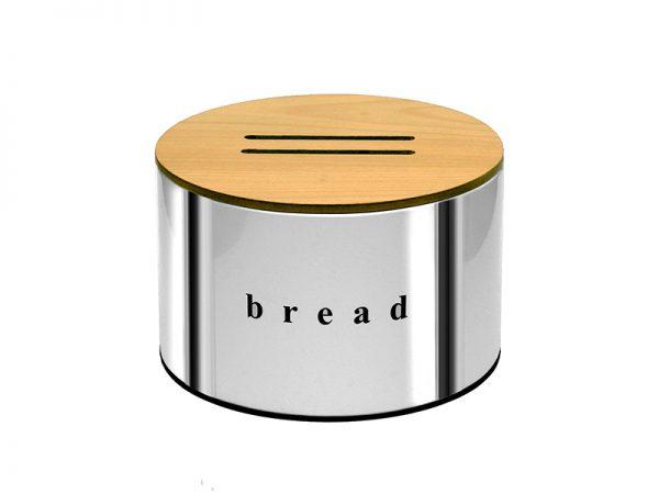 092518001 - Ψωμιέρα με Ξύλινο Καπάκι Inox
