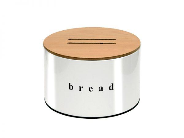 092518003 - Ψωμιέρα Με Ξύλινο Καπάκι Λευκή Ματ