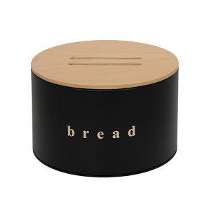 092518403 - Ψωμιέρα με Ξύλινο Καπάκι Μαύρη Ματ