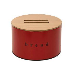 092518503 - Ψωμιέρα με Ξύλινο Καπάκι Κόκκινη Ματ