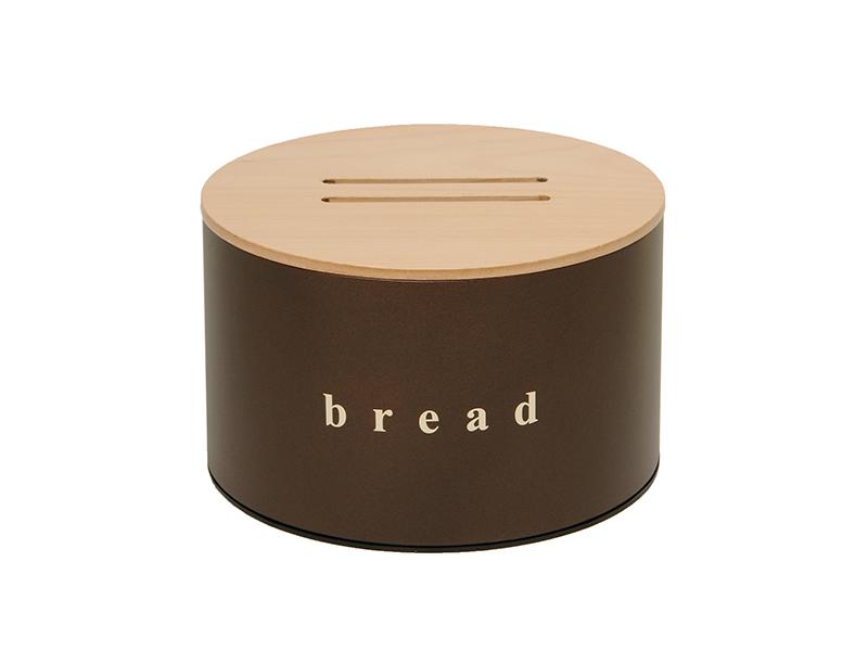 092518943 - Ψωμιέρα με Ξύλινο Καπάκι Καφέ Ματ