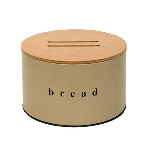092518103 - Ψωμιέρα με Ξύλινο Καπάκι Μπεζ Ματ
