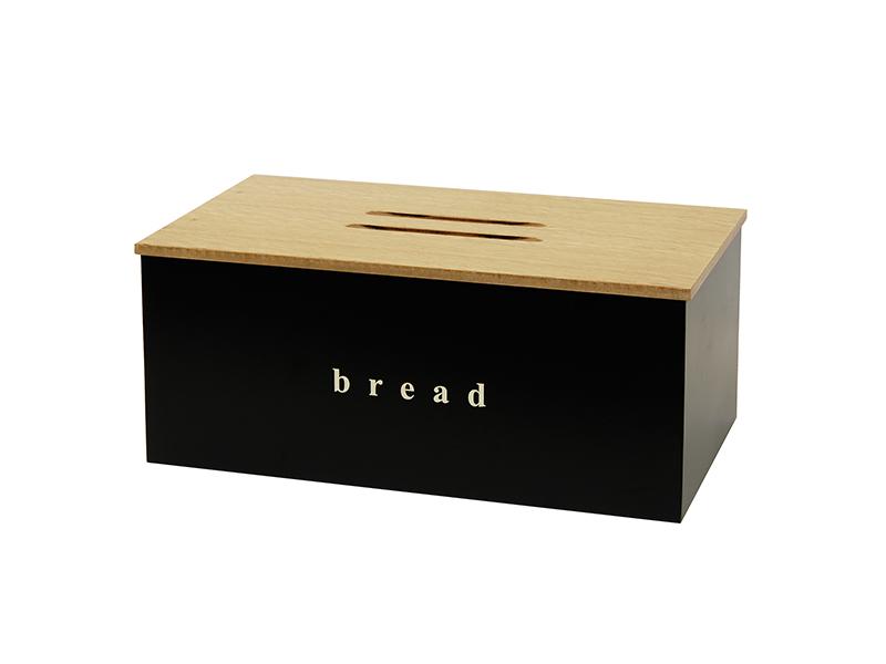 402218403 - Ψωμιέρα με Ξύλινο Καπάκι Μαύρο Ματ
