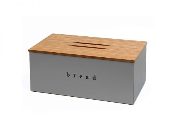 402218163 - Ψωμιέρα με Ξύλινο Καπάκι Γκρι Ματ