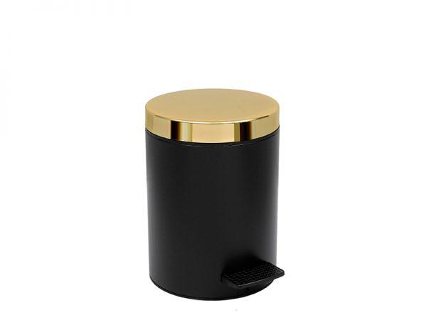 05106403 - Χαρτοδοχείο 5 lit Soft Close Μαύρο Ματ Χρυσό