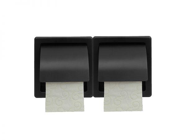110403 - Χαρτοθήκη Διπλή με Καπάκι Μαύρη Ματ