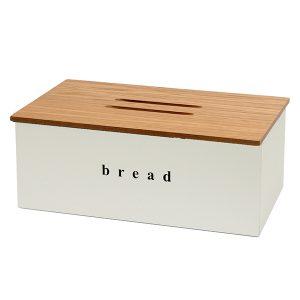 402218034 - Ψωμιέρα Λευκή Ματ με ξύλινο καπάκι