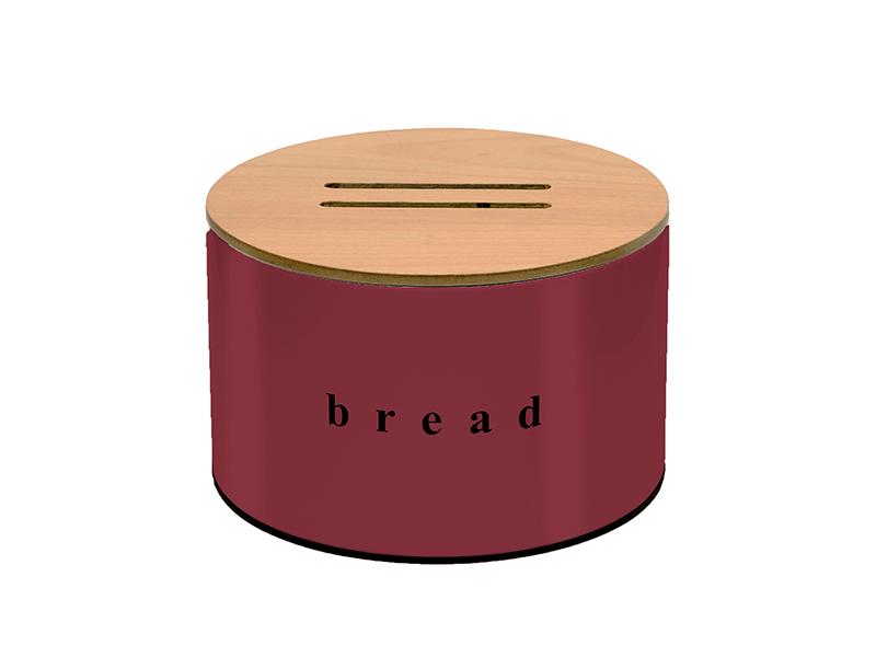 092518153 - Ψωμιέρα με Ξύλινο καπάκι κοπής Μπορντό Ματ